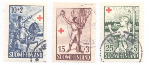 Finland Sc B132-4 1955 Ensign Stal Red Cross stamps used