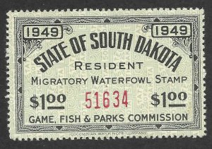Doyle's_Stamps: Scarce Mint NH South Dakota Duck Stamp #1 VF+