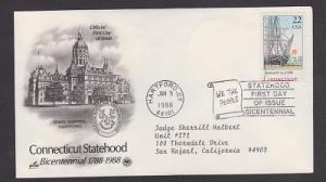 2340 Connecticut Statehood ArtCraft FDC with neatly typewritten address