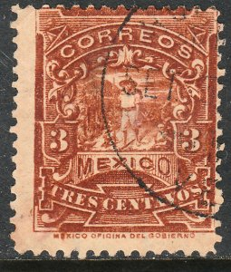 MEXICO 244 3cents MULITA WMK CORREOSEUM USED G-F. (149)