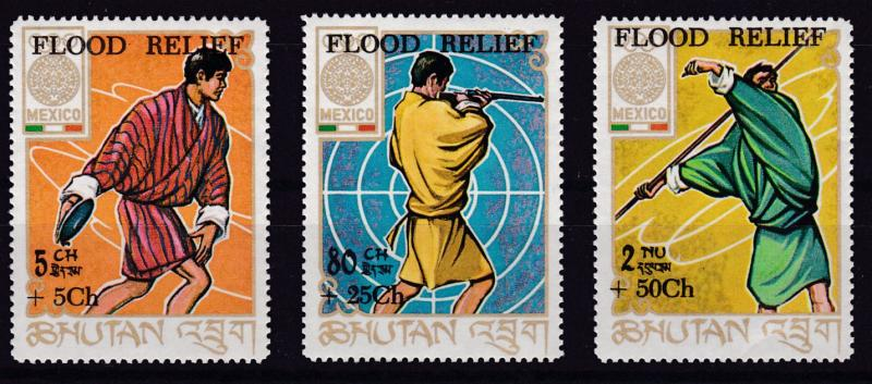 Bhutan 1965  Sports Semi-Postal Flood Relief set (3) Complete   VF/NH