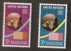 United Nations 274-275 New York Trade and Development set MNH 1976