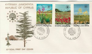 Cyprus 1970 Tree Picture Double Tree Cancels FDC Flowers Stamps Cover Ref 27649