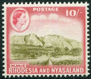 RHODESIA & NYASALAND-1959-62 10/- Olive-Brown & Rose-Red Sg 30 UM V48371