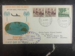 1963 Cocos Islands Keeling Australia First Day Cover FDC To Port Louis Mauritius