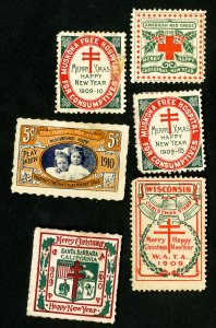 US Stamps VF 6 early 1900's seals over 100 years old