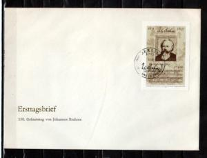 German Dem. Rep. Scott cat. 2313. Composer Brahms s/sht. Large First day cover.