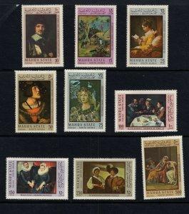 Aden (Mahra) #48-56  (1967 Paintings) CV €7.50 ($11 cdn)