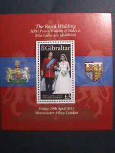 GIBRALTAR-2011-SC#1283-ROYAL WEDDING-MNH S/S-SCV.$12-VF