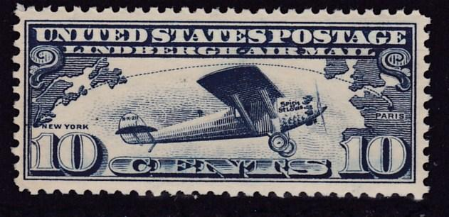 United States Airmail C10 1927 10c blue Lindbergh's Spirit of St. Louis VF/NH