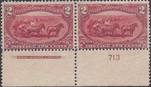 286 Mint,OG,NH... Imprint/Plate# Pair... SCV $160.00