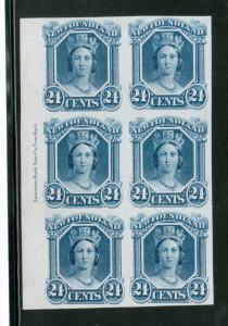 Newfoundland #31P Extra Fine ABN Imprint Block Of Six Proof On India Paper