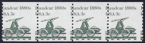 1898 - 3c Misperf Error / EFO Strip of 4 Handcar Mint NH