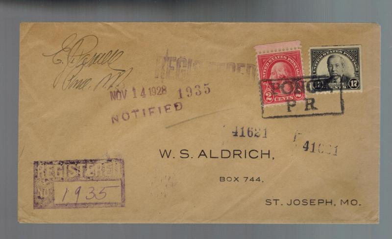 1928 Puerto Rico Ponce Registered Cover to St Joseph Missouri