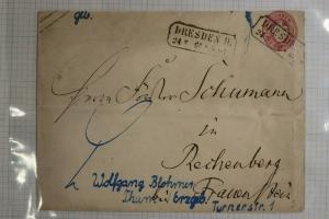 Saxony Germany Postal envelope 1 Dresden box cancel used Klingenberg Bavaria DC