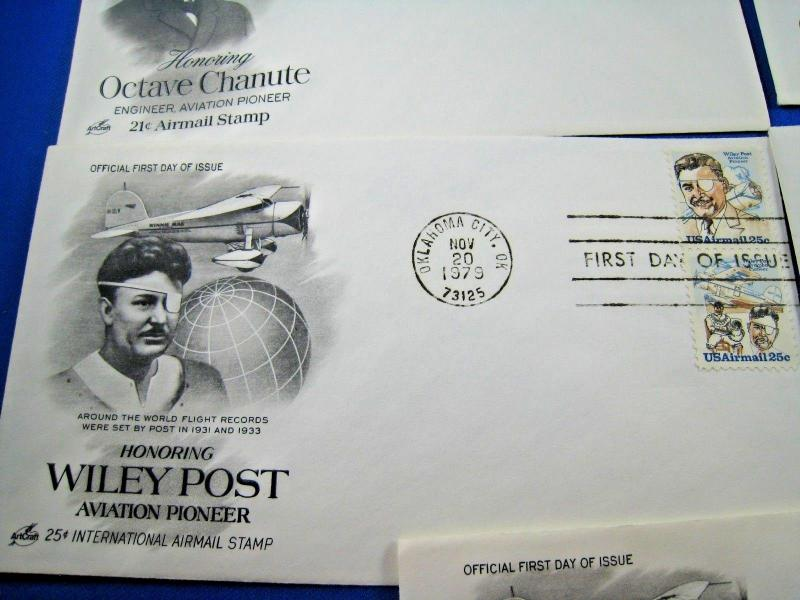 U.S. FIRST DAY COVER SETS - LOT of 9 - 1978-79 -  AVIATION PIONEERS    (FDC-11x)