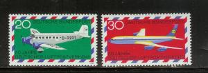 Germany 993-994 Set MNH Junkers 52, Boeing 707, Planes (F)