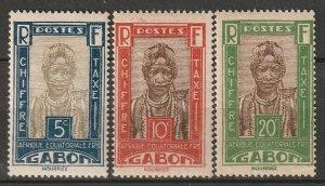 Gabon 1930 Sc J12-4 postage due partial set MH* disturbed gum