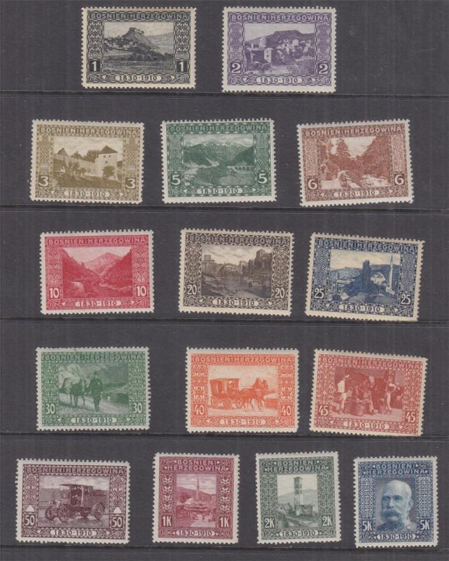 BOSNIA & HERZEGOVINA, 1910 Birthday set ex 35h., lhm. (15)