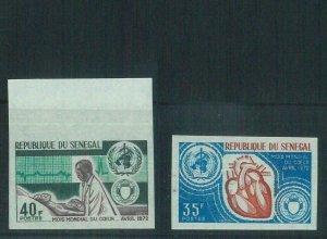 88741 - SENEGAL  - set of 2 IMPERF stamps NON DENTELLES: Medicine CARDIOLOGY