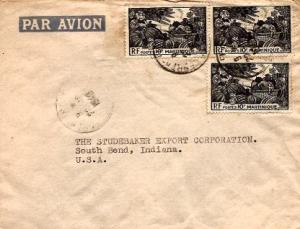 Martinique 10F Tropical Fruit (3) 1949 Fort de France, Martinique Airmail to ...