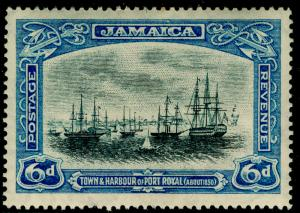 JAMAICA SG101a, 6d grey & dull blue, LH MINT. Cat £15. WMK SCRIPT.
