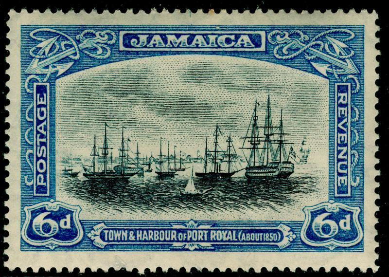JAMAICA SG101a, 6d grey & dull blue, LH MINT. Cat £15. WMK SCRIPT.