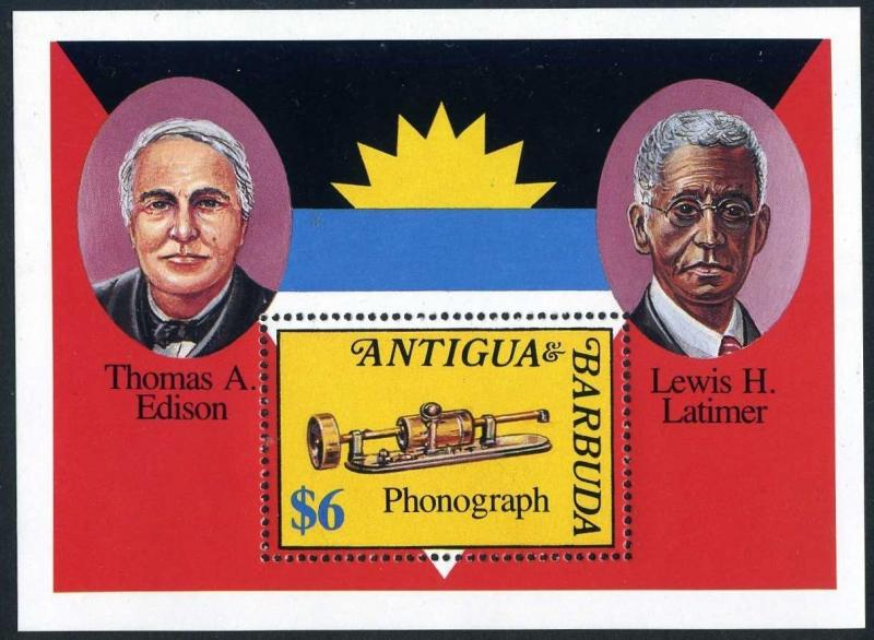Antigua 1607,MNH.Michel Bl.240. Inventors 1992.Thomas Edison,Lewis H.Latimer.