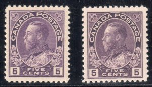 Canada VF NH #112- 112a, c, i, ii, iii (112c has minor wrinkle) C$1275.00