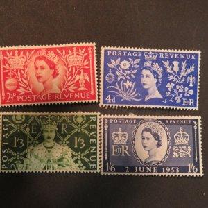 Great Britain 313-316  Coronation issue OG VLH Cv. $16.25