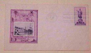 HAWAII  FDC 1938 HONOLULU CACHET UNADDRESSED