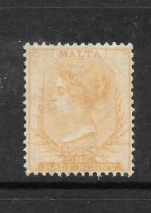 MALTA  1863-81  1/2d   DULL ORANGE   QV   MNG  SG 7