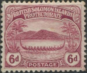 Solomon Islands 1908 SG13 6d claret Canoe MLH