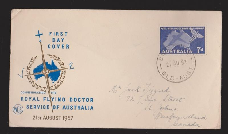 AUSTRALIA Scott # 305 On FDC Royal Flying Doctor Service WCS Thermal Cachet