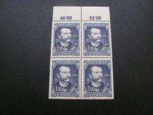AUSTRIA 1951 MNH SC# 578 SCHRAMMEL BLOCK OF 4