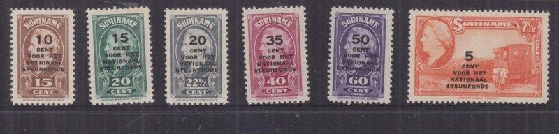 SURINAME, 1945 National Welfare Fund overprint set of 6, lhm.