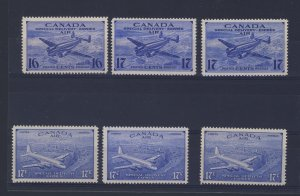 6x Canada Air Mail Mint Stamps CE1 2xCE2 3x CE3-4 Guide Value = $35.00