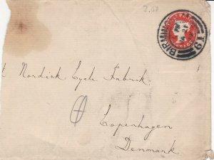 Britain 1899 Birmingham Cancel Embossed Stamp Part Cover to Denmark Ref 45639