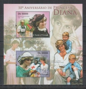 St. Thomas & Prince Islands MNH S/S Princess Diana With Her Boys
