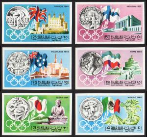 Sharjah Mi #496B-501B set/6 mnh - 1968 Olympic games summer host cities - imperf