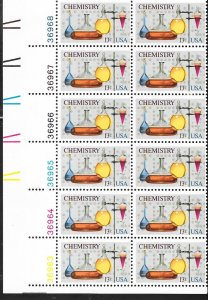 US#1685 13c Chemistry  Plate Block of 12 (MNH) CV $3.25
