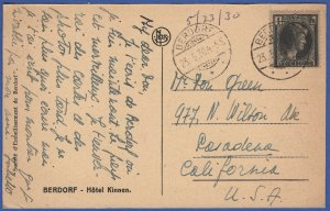 LUXEMBOURG 1930 1 Fr on BERDORF ppc, used to USA