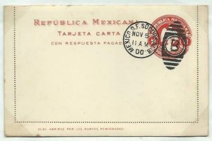 MEXICO 2c lettercard with reply lettercard inside 1899 CTO 1900............58756