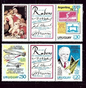 Uruguay 982a MNH 1977 Two Strips with labels    (ap4351)