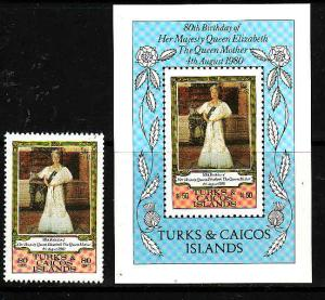 Turks & Caicos-Sc#440-1-unused NH set + sheet-Queen Mother-80th Birthday-1980-