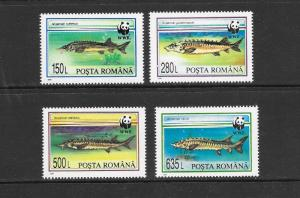 WWF - ROMANIA- FISH #3954-3957  MNH