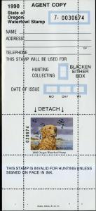 US OREGON STATE WATERFOWL HUNTING STAMP 1989 MNH SCV $14.50 BIN $7.25