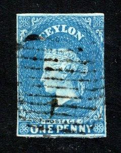 Ceylon #1, F/VF, Used, Wmk. 6, CV $240.00 ....  1290001