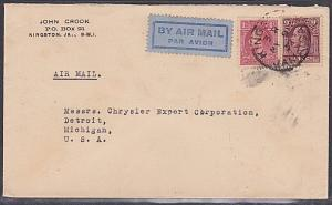 JAMAICA 1932 10d rate airmail cover Kingston to USA..........................702