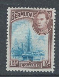 Bermuda 1938 King George VI & Hamilton Harbor 1 1/2p Scott # 119 MNH